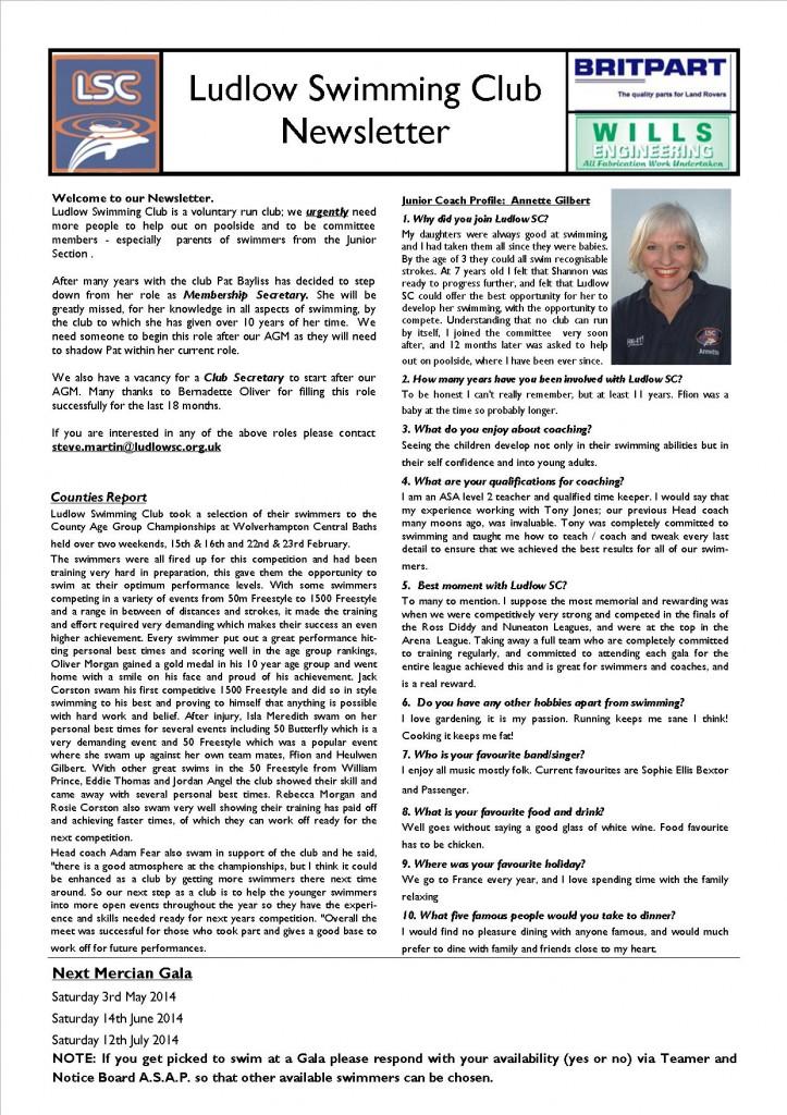 swimming newsletter 2
